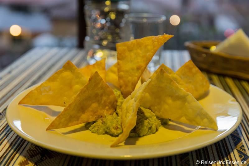 Nachos beim Abendessen in Ollantaytambo
