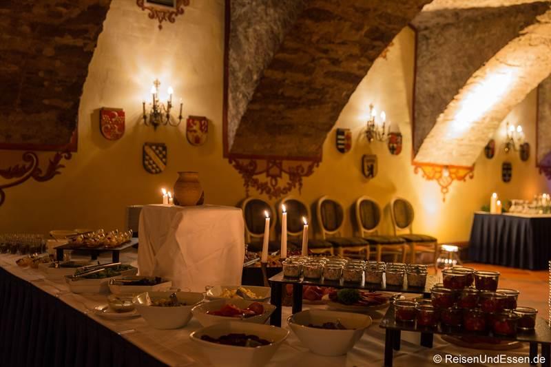 Buffet im Wappensaal beim Mönchsdinner