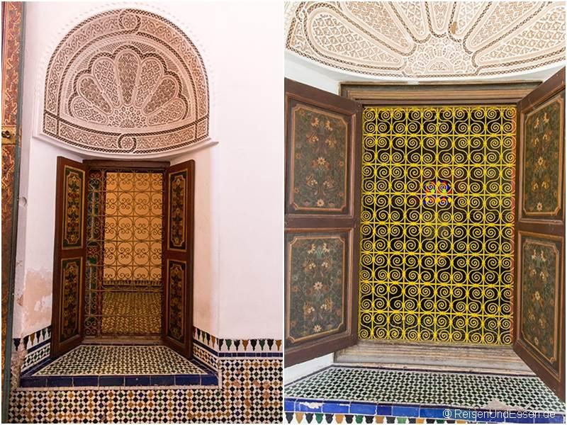 Fenster mit Ornamente im Bahia Palast in Marrakesch