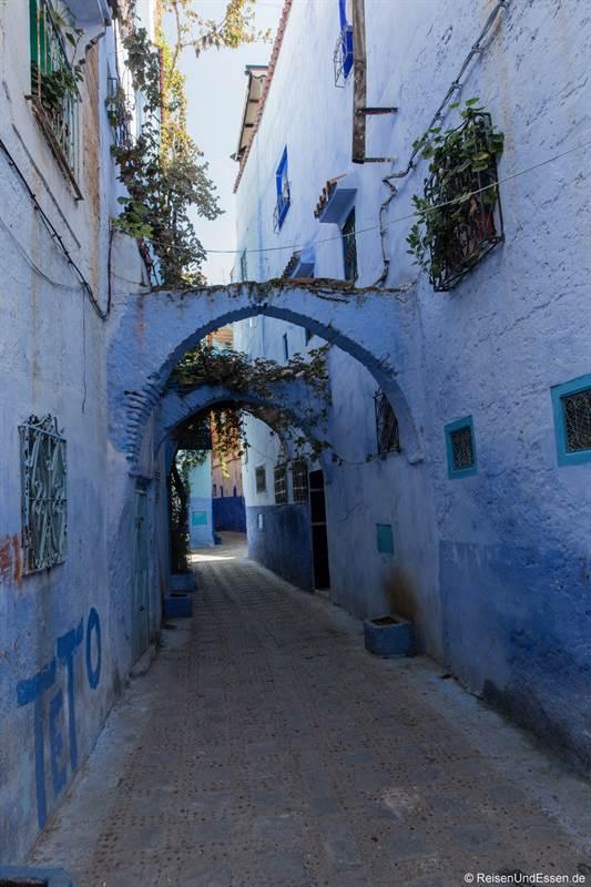 Blaue Stadt Chefchaouen mit Torbogen