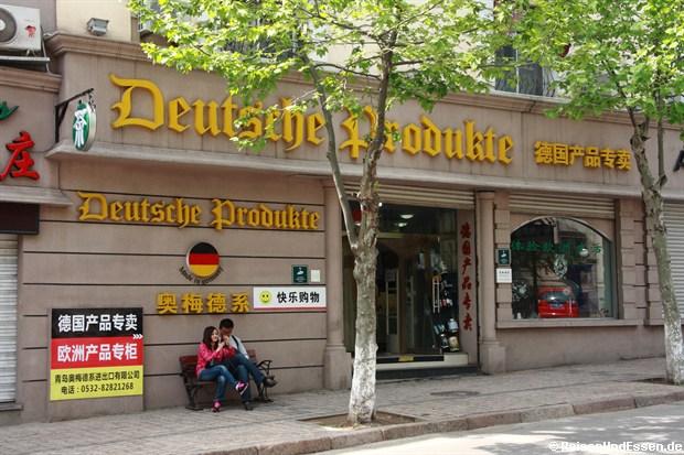 Qingdao - Laden mit der Aufschrift: Detusche Produkte
