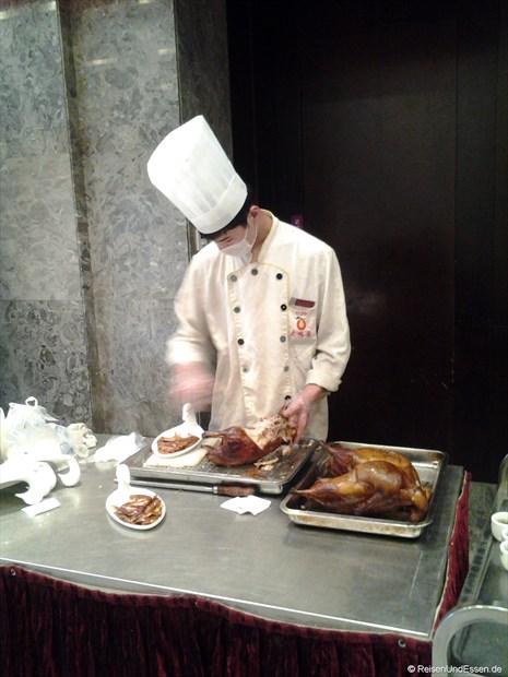 Zubereitung der Beijing Ente