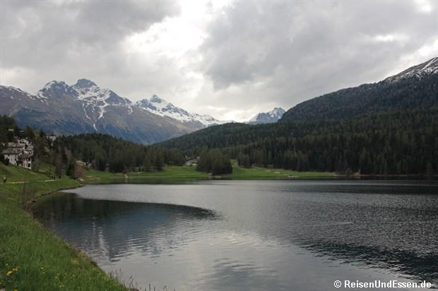 St. Moritzersee und Berge (Piz Corvatsch)