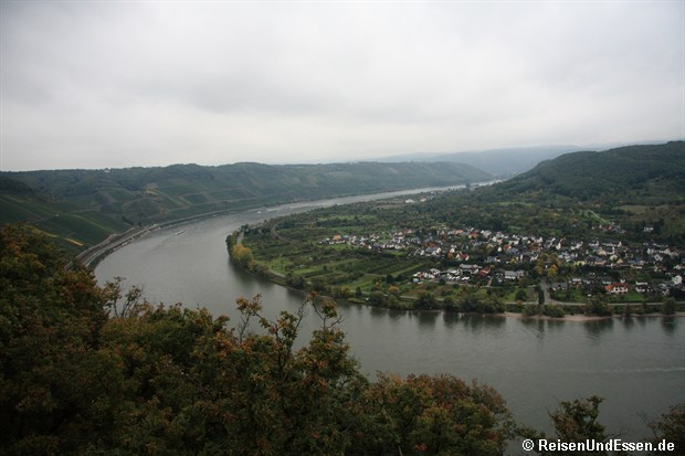 Blick von der Sesselbahn auf die Rheinschleife bei Boppard