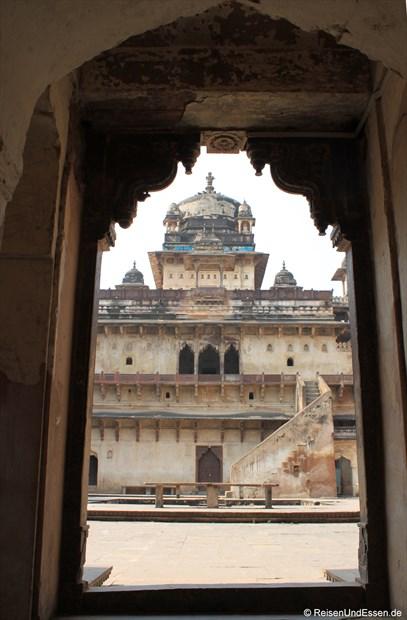 Erster Blick auf Jahangir Mahal im Fort in Orchha