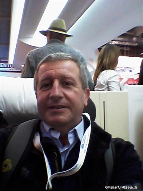 Selfie in der First Class von Lufthansa