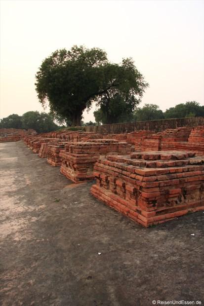 Ausgrabungen in Sarnath mit der Chaussee Richtung Haupttempel