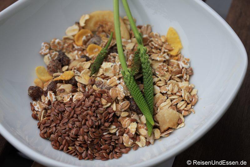 Müsli, Körner und die Frucht des Breitwegerichs