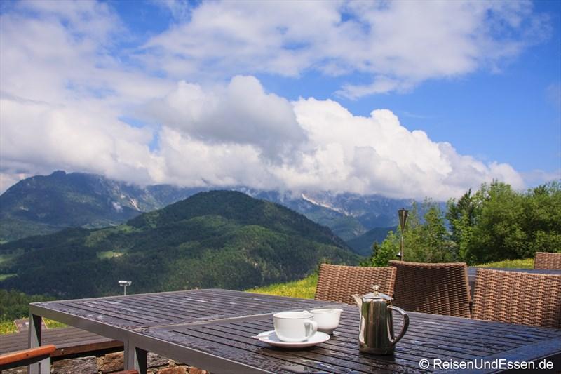 Terrasse vor dem 3'60° Restaurant im Intercontinental Berchtesgaden