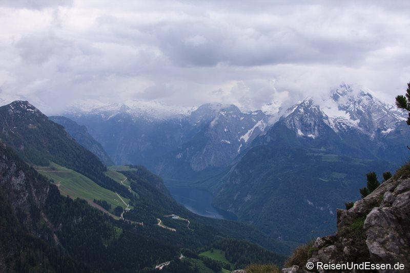 Ausblick vom Kehlstein auf Königssee und Watzmann