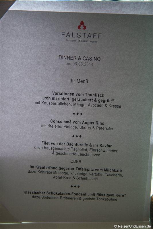 Blick in die Speisekarte vom Restaurant Falstaff im Casino Bregenz