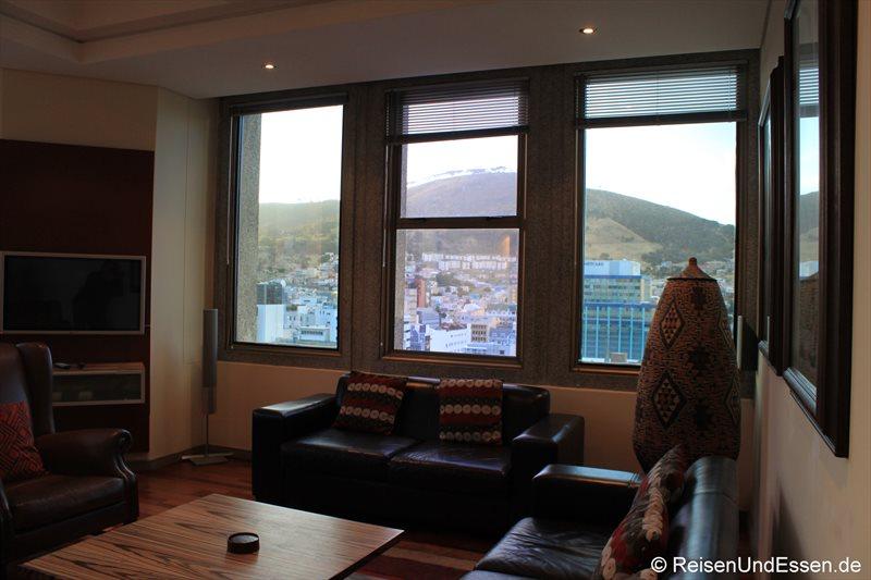Blick von der Ferienwohnung in Kapstadt auf den Signal Hill