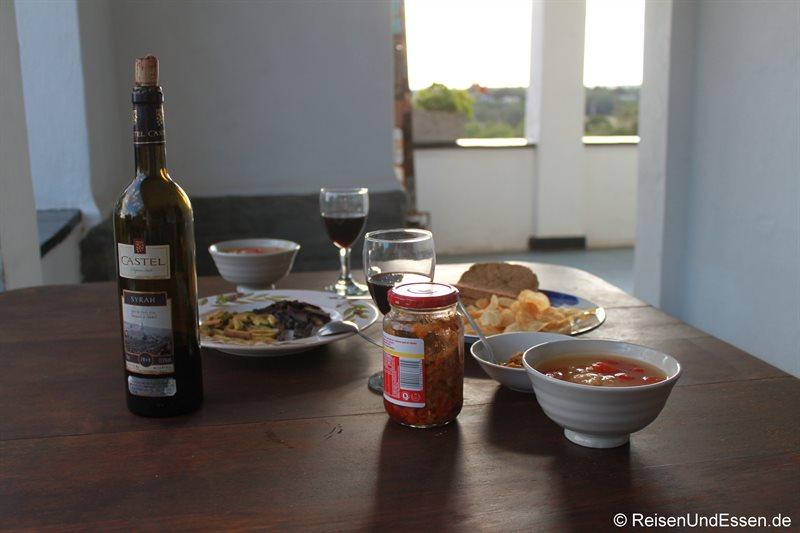 Unser Abendessen in der Karoo Soul Lodge