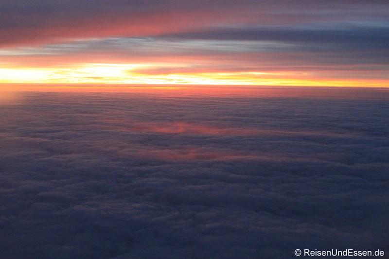 Sonnenuntergang auf dem Flug Richtung Kopenhagen