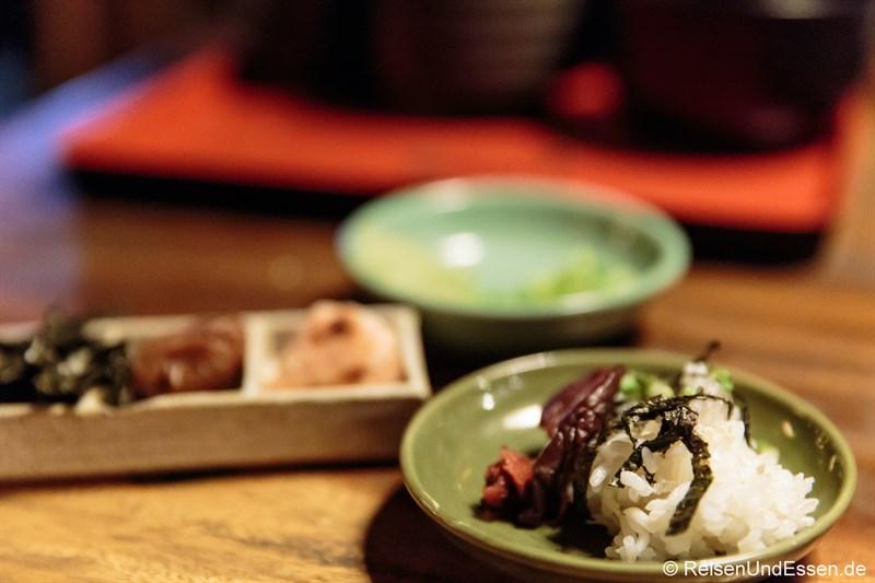 Appetizer und Reis