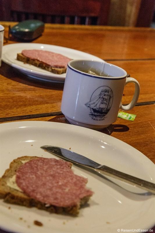 Frühstück auf der Barkentine Thalassa