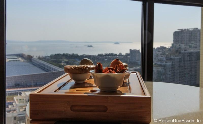 Auf dem Balkon im Hotel Nikko Xiamen