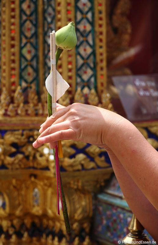 Buddhistisches Ritual mit Lotus
