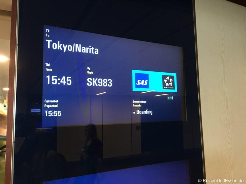 Boarding für SK983 von Kopenhagen nach Tokio
