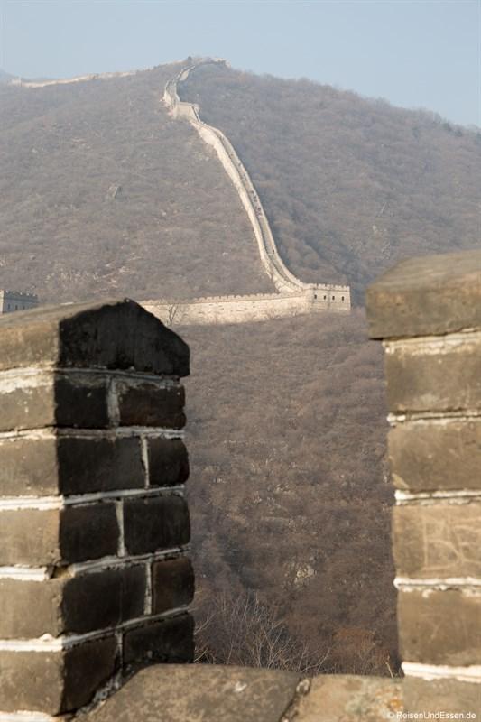 Blick auf die Chinesischen Mauer in Mutianyu