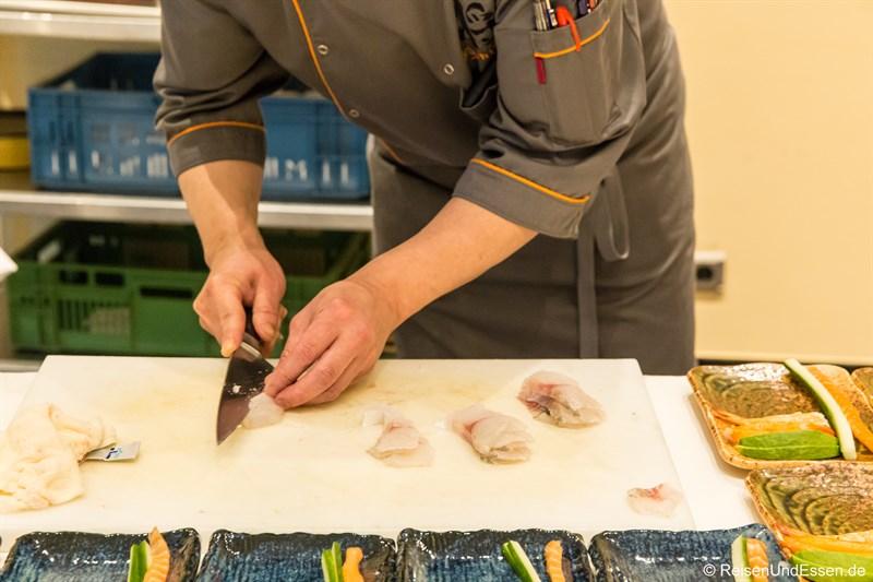 Sushi Stücke vom Wolfbarsch