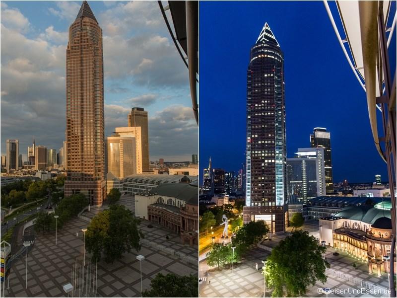 Blick aus dem Superior Zimmer auf den Messeturm bei Tag und Nacht
