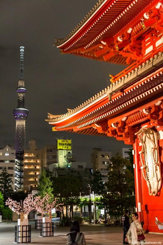 Asakusa Schrein und Tokyo Skytree bei Nacht