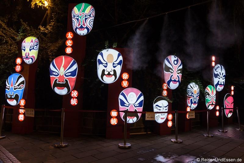 Masken der Sichuan Oper in Chengdu