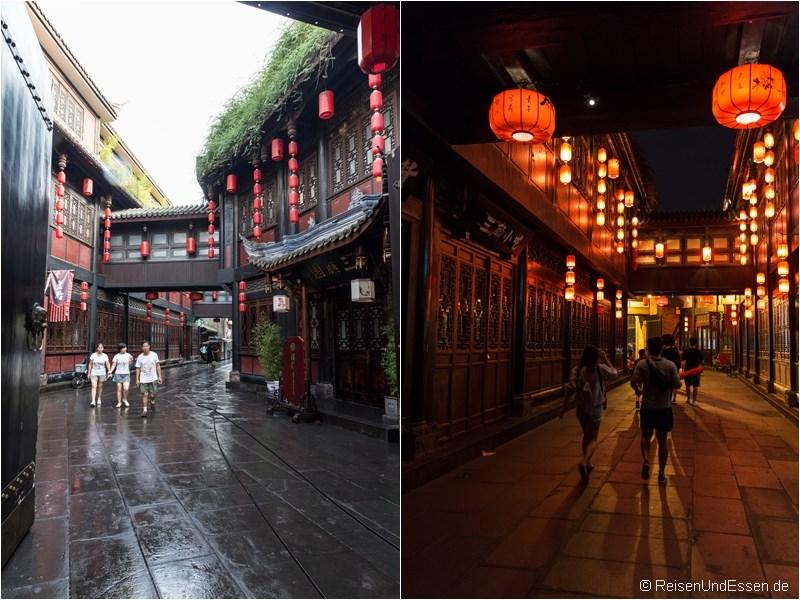 Jinli Strasse in Chengdu bei Tag und Nacht