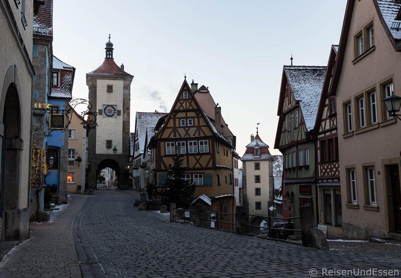 Plönlein in Rothenburg bei Sonnenaufgang