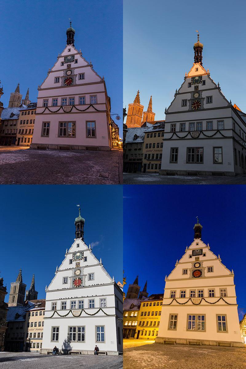 Ratstrinkstube in Rothenburg zum Sonnenaufgang, Mittags und blauen Stunde