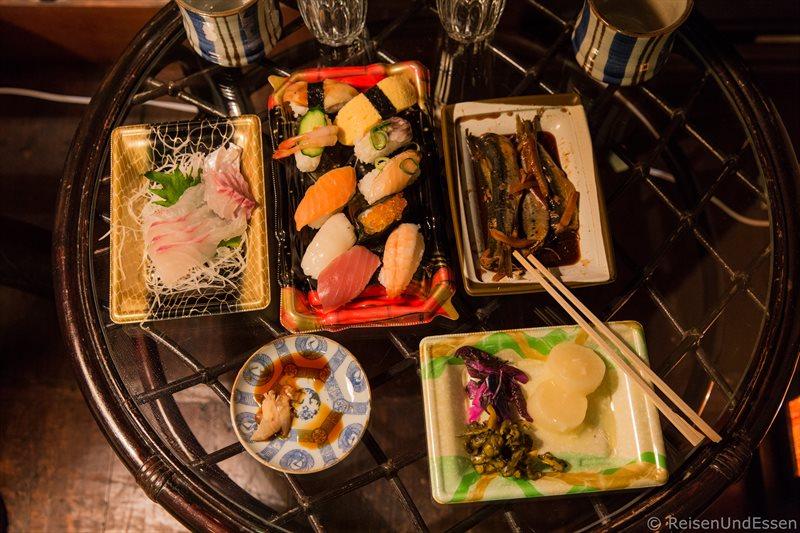 Sushi beim Abendessen in Kyoto