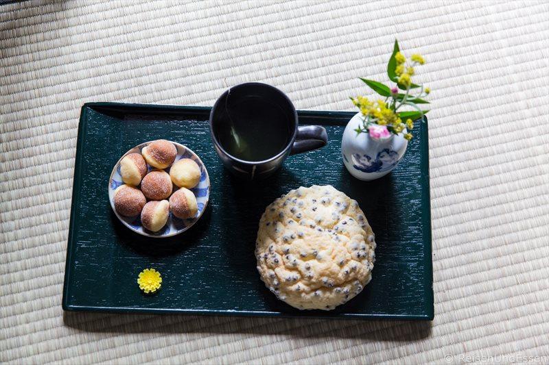Frühstück bei der Übernachtung in Kyoto