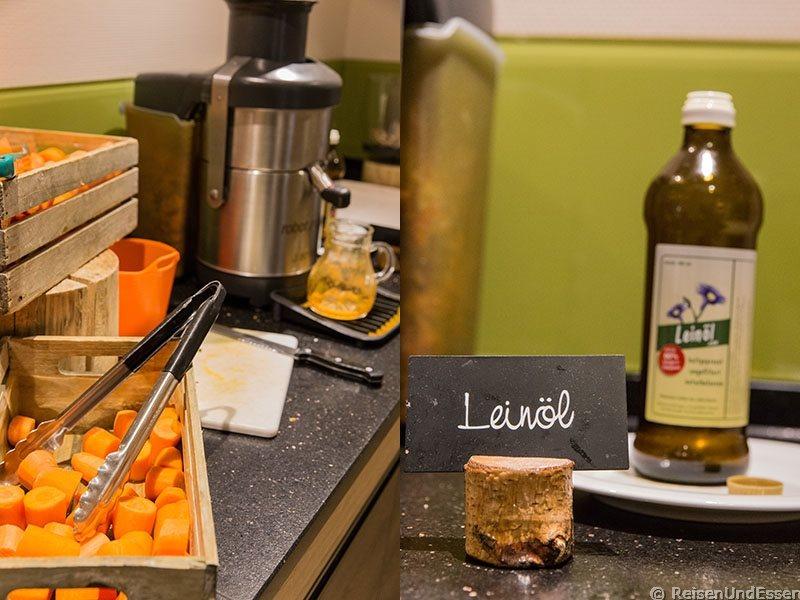 Frischer Karottensaft mit Leinöl zum Frühstück