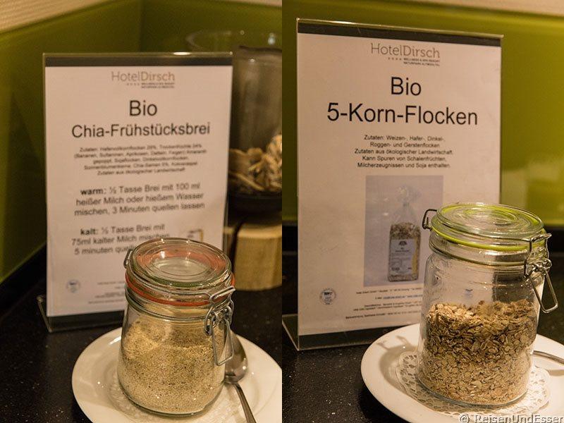 Bio-Ecke mit Chia und Flocken beim Frühstück am Wohlfühlwochenende im Hotel Dirsch