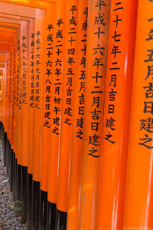 Japanische Schriftzeichen an den Torii