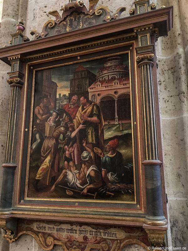 Heiligs Bleche auf dem Gemälde im Ulmer Münster