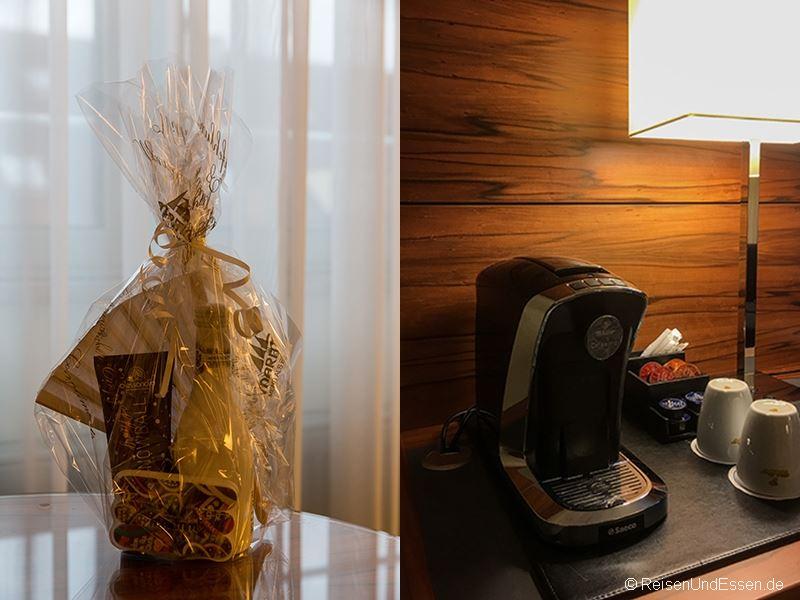 Präsent und Kaffeemaschine im Maritim Hotel München