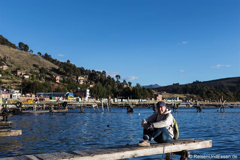 Relaxen in der Bucht vom Copacabana am Titicacasee