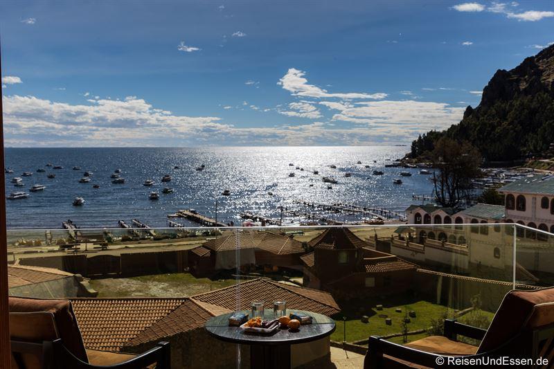Balkon beim Zimmer mit Aussicht in Copacabana am Titicacasee