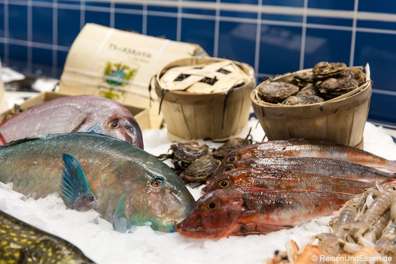 Fisch und Austern in der Theke im Frischeparadies
