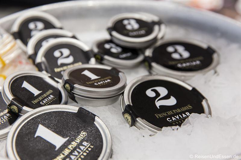 Angebot von Kaviar im Frischeparadies