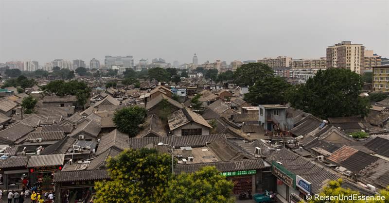 Blick auf Hutongs in Peking