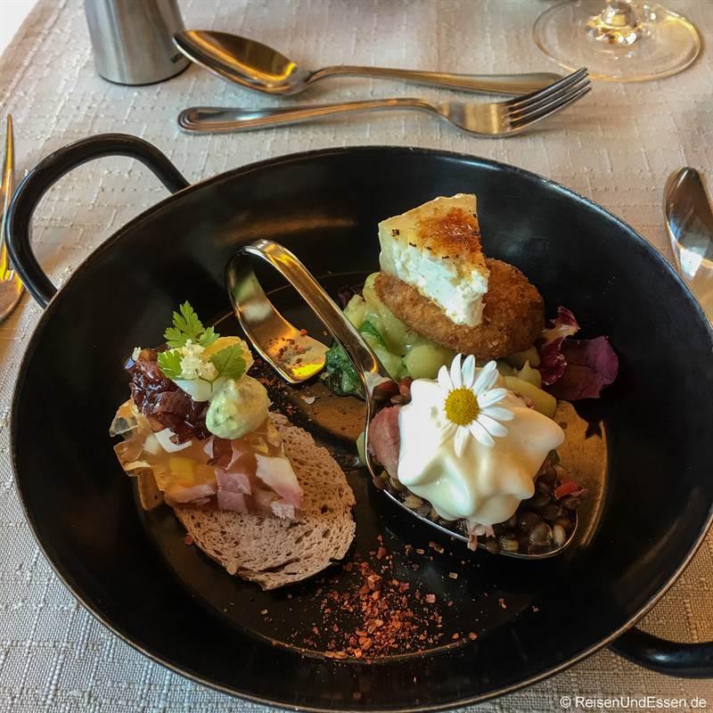 Vorspeisen-Triologie beim Marten Dinner - Pinzgauer Kulinarik
