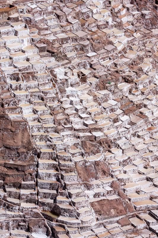 Becken in den Salzterrassen von Maras