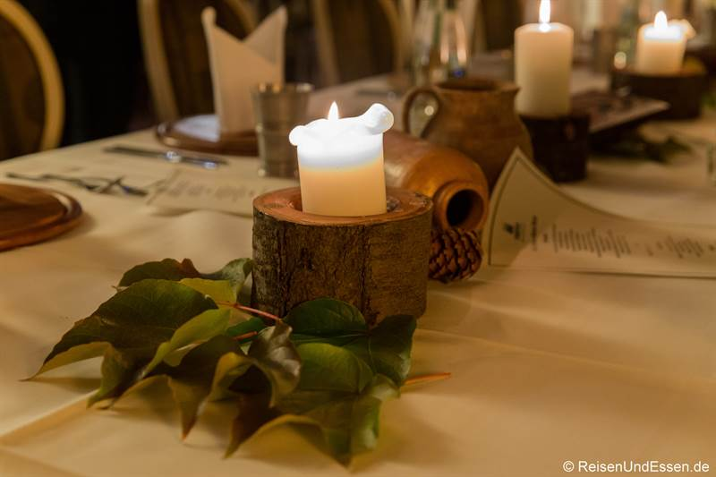 Tischdekoration im Wappensaal beim Mönchsdinner
