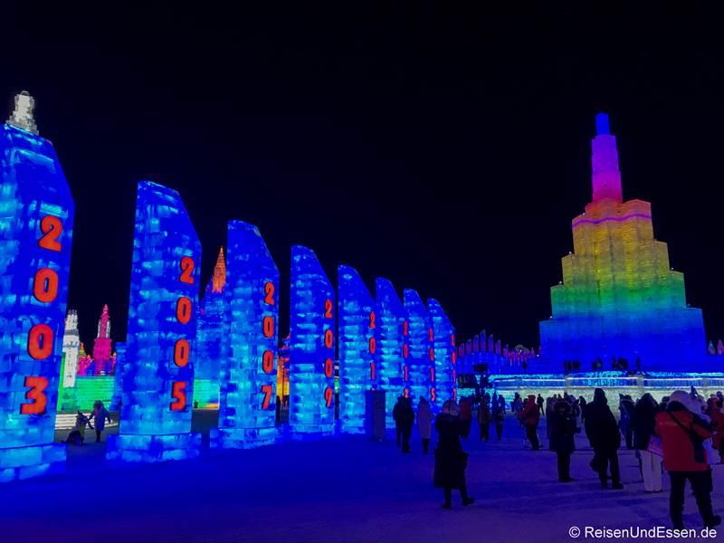 Säulen mit 20 Jahren Eisfestival in Harbin