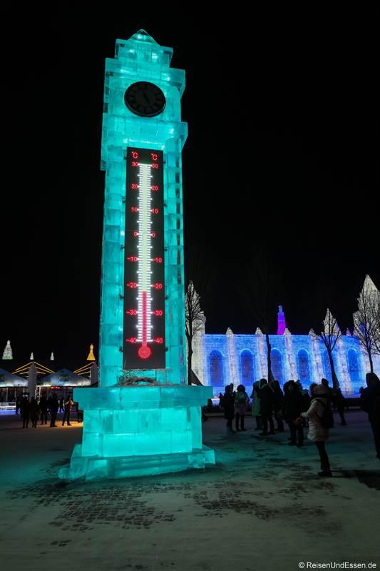 Temperaturanzeige aus Eis in Harbin