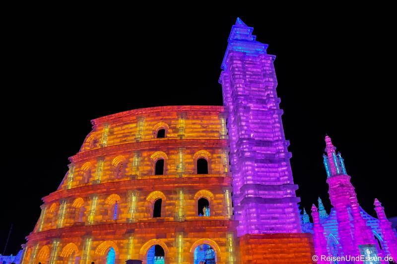 Colloseum von Rom beim Eisfestival