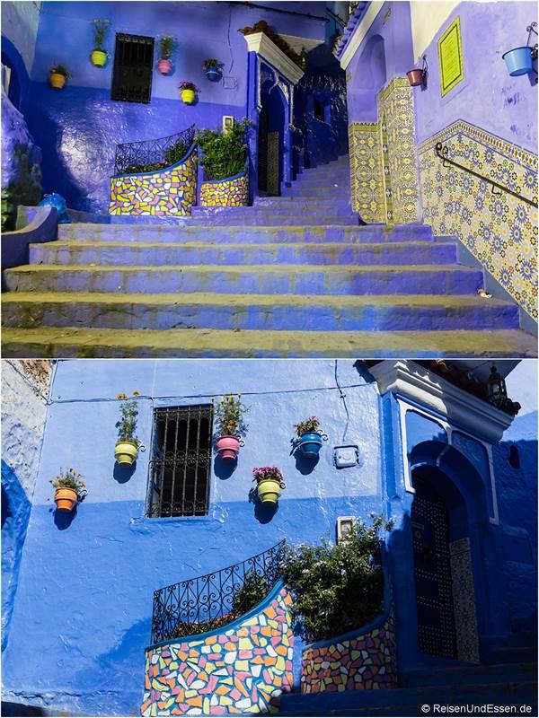 Hausfassade in Chefchaouen bei Nacht und Tag